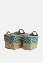 Sixth Floor - Gigi rectangular basket set of 2 - natural & blue