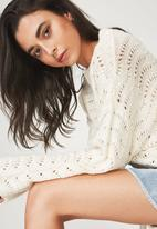 Cotton On - Cropped pointelle pullover - cream