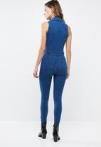 9ed2d606ddf0 Sleeveless 4 way knit denim jumpsuit - dark blue Sissy Boy Jumpsuits ...