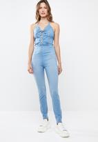Sissy Boy - Denim jumpsuit with criss cross detail - blue