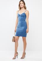 dcf9da2a16c Fitted corset dress in 4 way Knit - dark blue Sissy Boy Formal ...