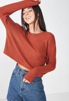 Cotton On - Arna textured boxy long sleeve - rust