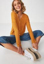 Cotton On - Eliza textured tie hem cardi - gold