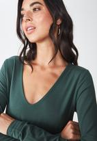 Cotton On - Everyday long sleeve v-neck top - green