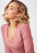Cotton On - Everyday long sleeve v-neck top - pink