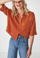 Cotton On - Rebecca chopped shirt - orange