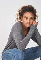 Cotton On - Karly long sleeve top - charcoal