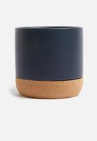 Present Time - Craft plant pot - ceramic cork blue