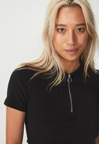 Cotton On - Nadine zip front short sleeve top - black