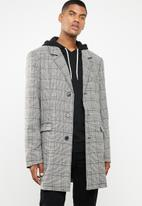 Superbalist - Check overcoat - grey & white