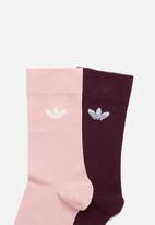 adidas Originals - Solid crew socks 2 pack - pink & burgundy