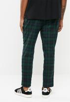 New Look - Black watch check pants - navy & green