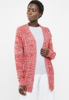 edit - Textured open front cardigan - red