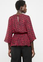 edit - Tie front blouse - red & black