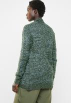 edit - Textured open front cardigan - blue & green
