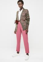 edit - Textured open front cardigan - pink & green