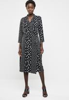 edit - Maxi wrap over dress - black & white