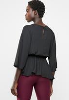 edit - Tie front blouse - black