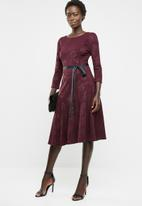 edit - Long sleeve fit and flare dress - burgundy