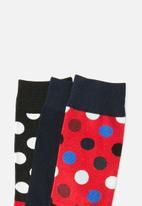 STYLE REPUBLIC - Print vs plain 3 pack socks - multi