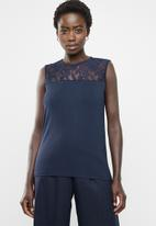 edit - Lace inset cami - navy