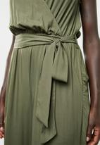 edit - Wrap-over sleeveless jumpsuit - olive