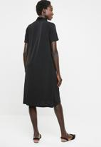 edit - Shift dress with drape neck detail - black