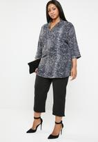 edit Plus - Henley collar blouse - grey