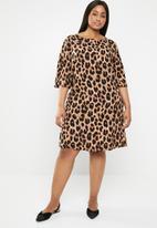 edit Plus - Boxy shift dress -  brown & black