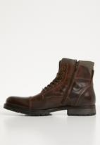 Jack & Jones - Albany leather military boot - brown