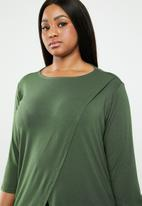 STYLE REPUBLIC PLUS - Mock wrap top - green