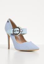 Miss Black - Mary Jane heels - blue/white