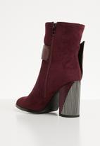 Plum - Buckle detail ankle boot - burgundy