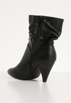 Jada - Ruched pointed kitten heel boot - black