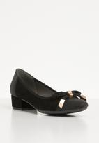 Butterfly Feet - Front bow low block heel pump - black