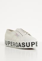 SUPERGA - Canvas flatform bold letters - G 04 grey seashell