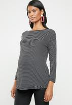 edit Maternity - Maternity boat neck top - black & white