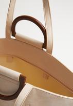 Superbalist - Wooden handle shopper bag - natural