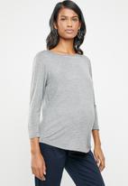 edit Maternity - Maternity boat neck top - grey