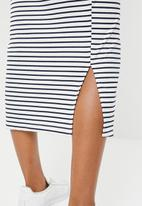 edit Maternity - Button down ribbed dress - navy & white