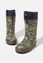 Cotton On - Classic golly camouflage boots - green & navy