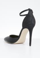 Call It Spring - Snake skin combo ankle strap heel - black