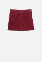 Cotton On - Rose cord skirt - red