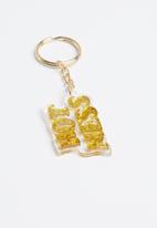 Typo - Enamel hot mess keyring - yellow & gold