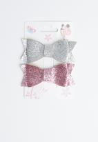 POP CANDY - Glitter bow hairclips - grey & pink