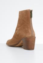ALDO - Suede block heel ankle boot - beige