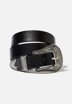 Cotton On - Western buckle belt  - black
