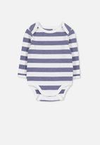 Cotton On - Mini long sleeve bubbysuit - blue & white