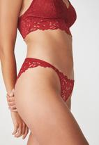 Cotton On - Hayley lace brasiliano brief - red