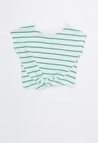 Cotton On - Tabitha twist top - white & green